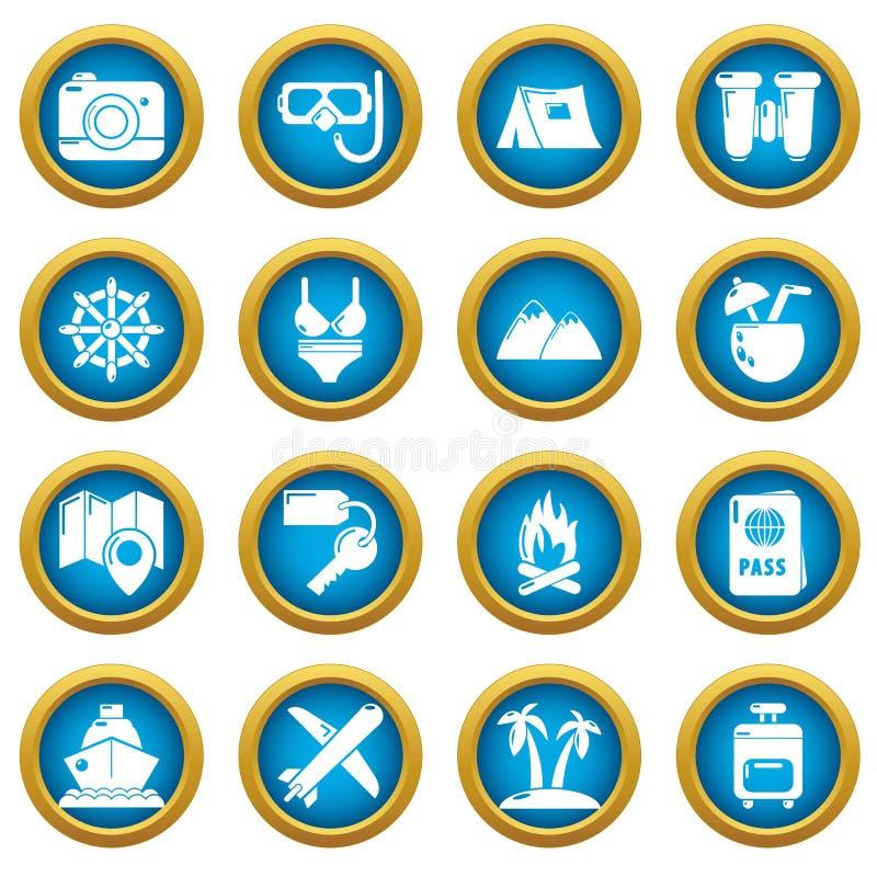Icônes d'été de voyage réglées, style simple illustration libre de droits
