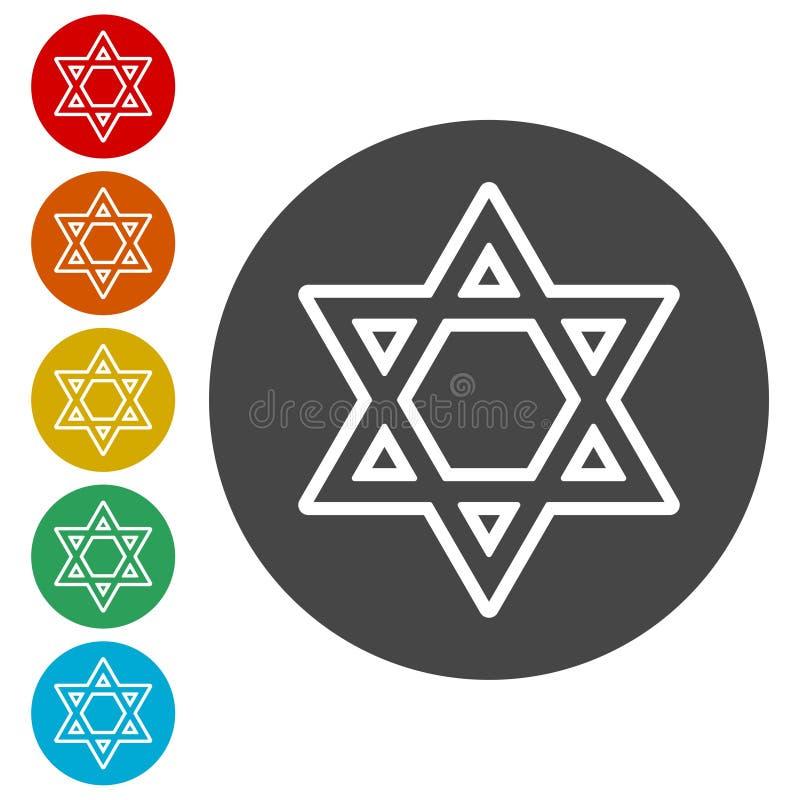 Icônes d'étoile de David réglées illustration libre de droits