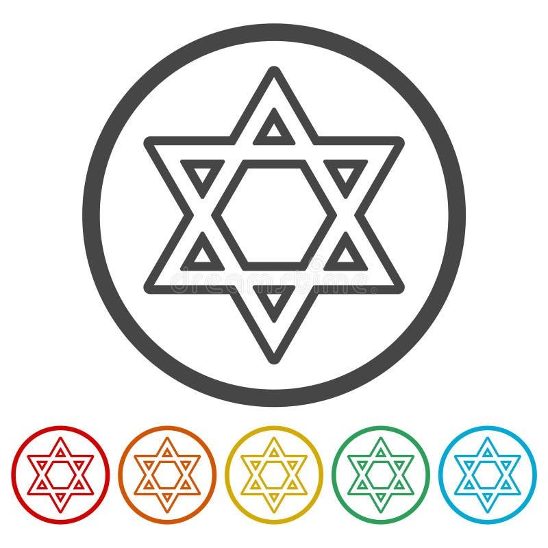Icônes d'étoile de David réglées illustration de vecteur
