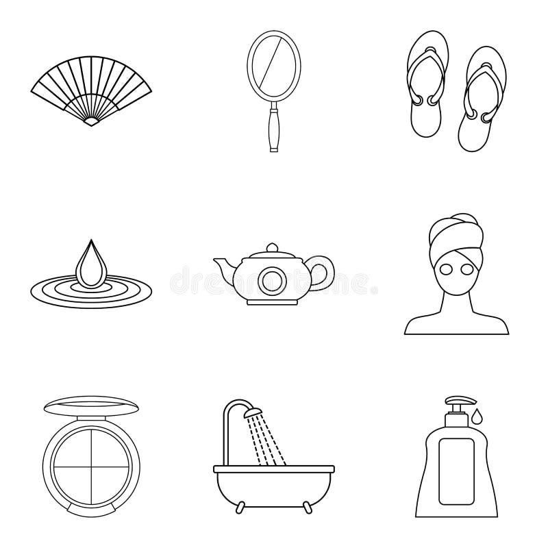 Icônes d'ablutions réglées, style d'ensemble illustration de vecteur