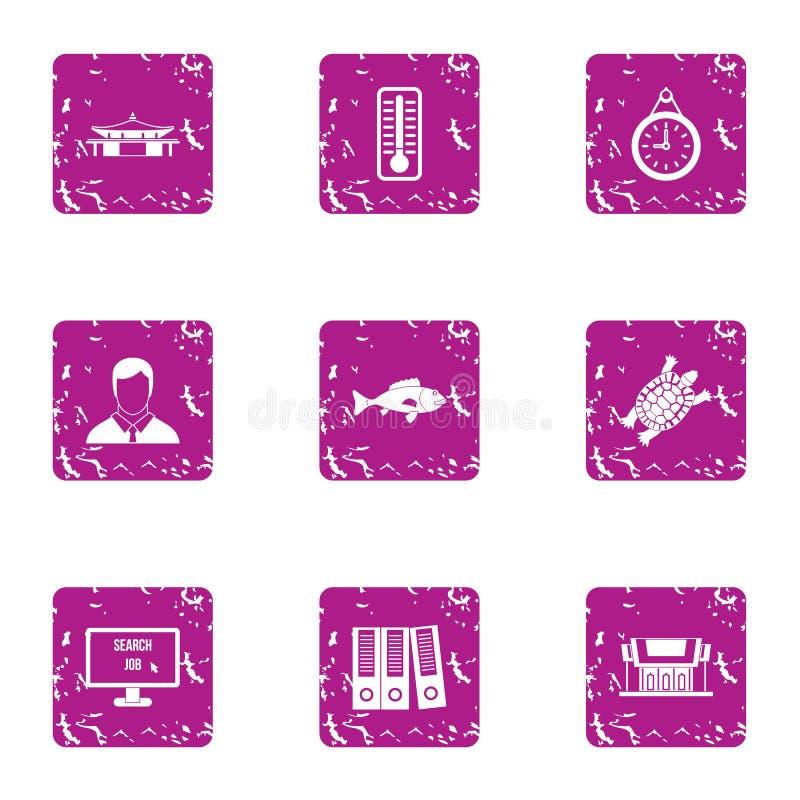 Icônes d'affaires de parc réglées, style grunge illustration de vecteur