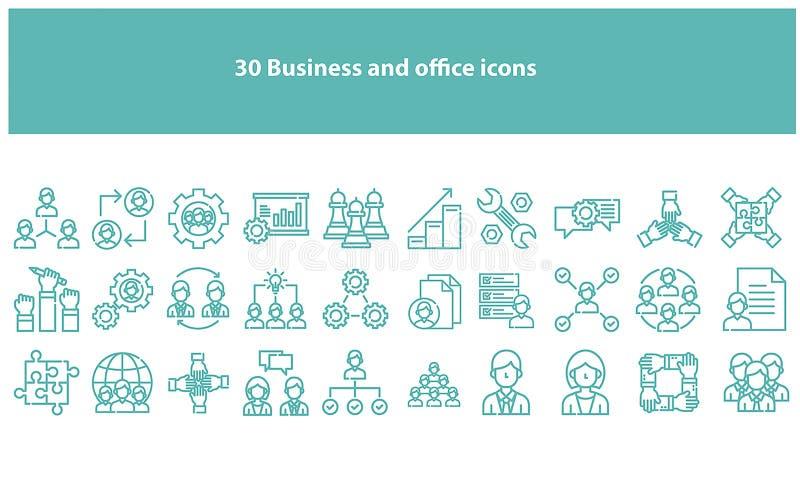 Icônes d'affaires et de bureau de vecteur de Torquoise illustration de vecteur
