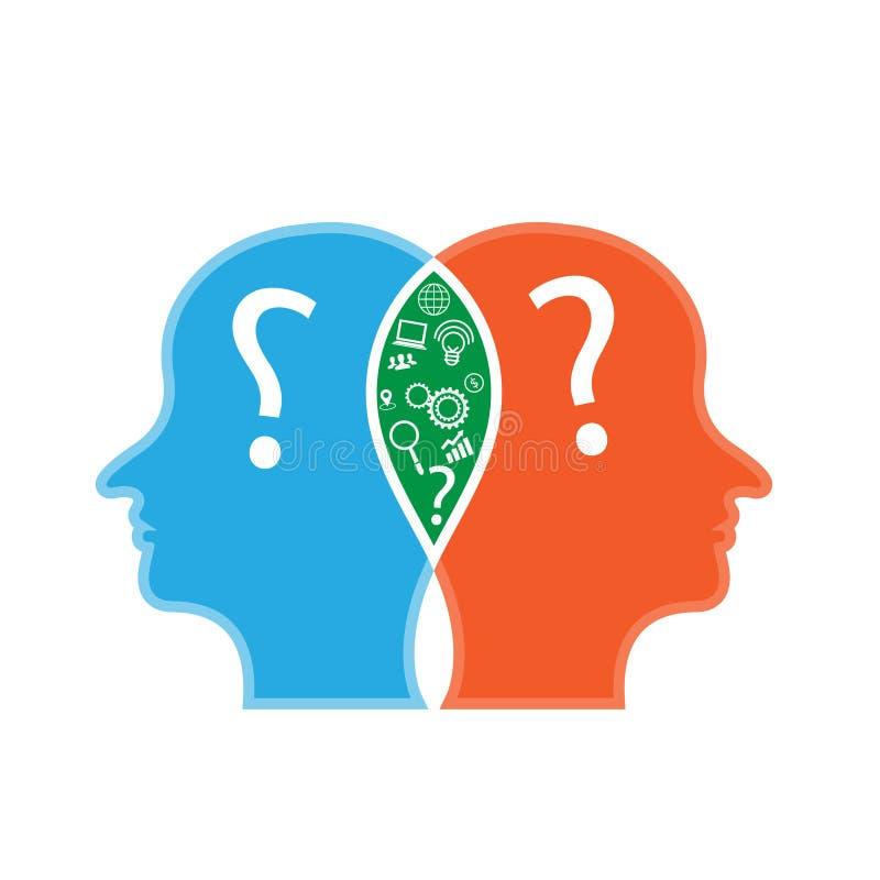 Icônes d'affaires et têtes de pensée créative de deux personnes illustration stock