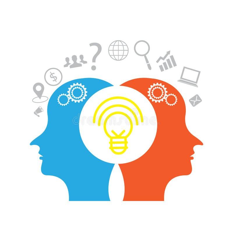 Icônes d'affaires et têtes de pensée créative de deux personnes illustration de vecteur