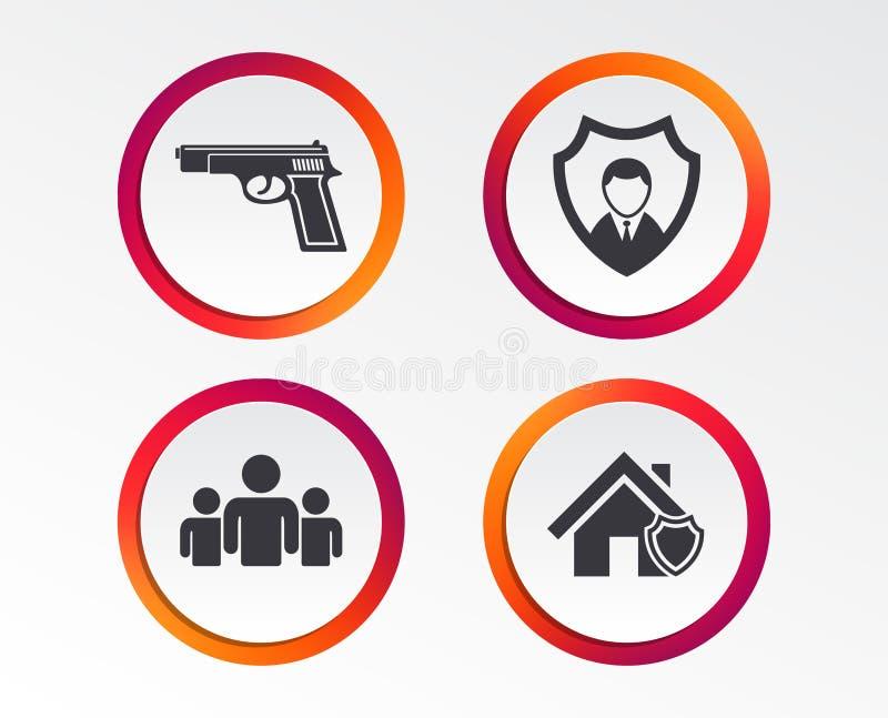 Icônes d'agence de sécurité Protection à la maison de bouclier illustration libre de droits
