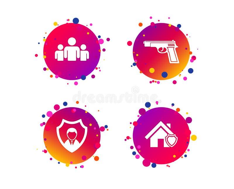 Icônes d'agence de sécurité Protection à la maison de bouclier Vecteur illustration stock