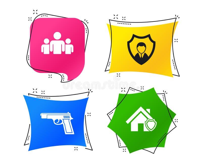 Icônes d'agence de sécurité Protection à la maison de bouclier Vecteur illustration de vecteur