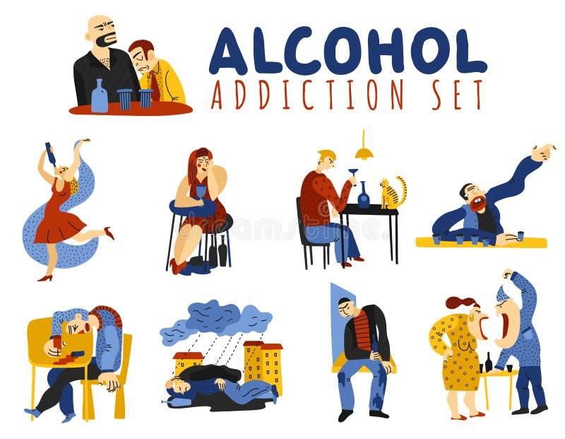 Icônes d'alcoolisme réglées illustration stock