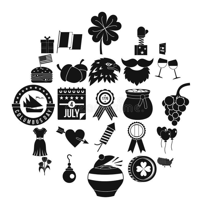 Icônes d'almanach réglées, style simple illustration libre de droits