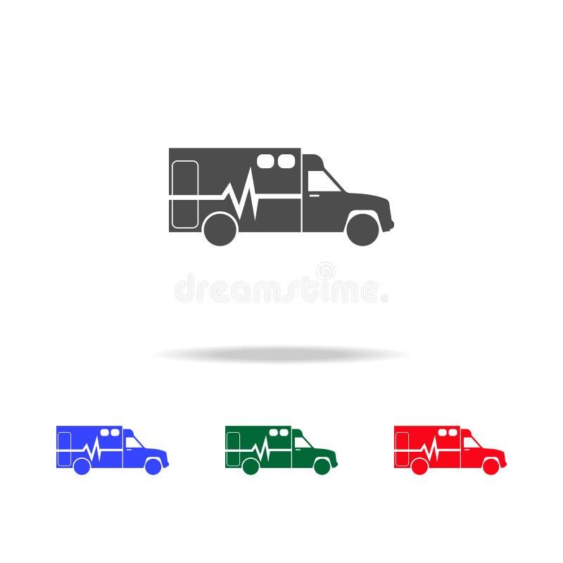 Icônes d'ambulance Éléments d'élément de transport dans les icônes colorées multi Icône de la meilleure qualité de conception gra illustration de vecteur