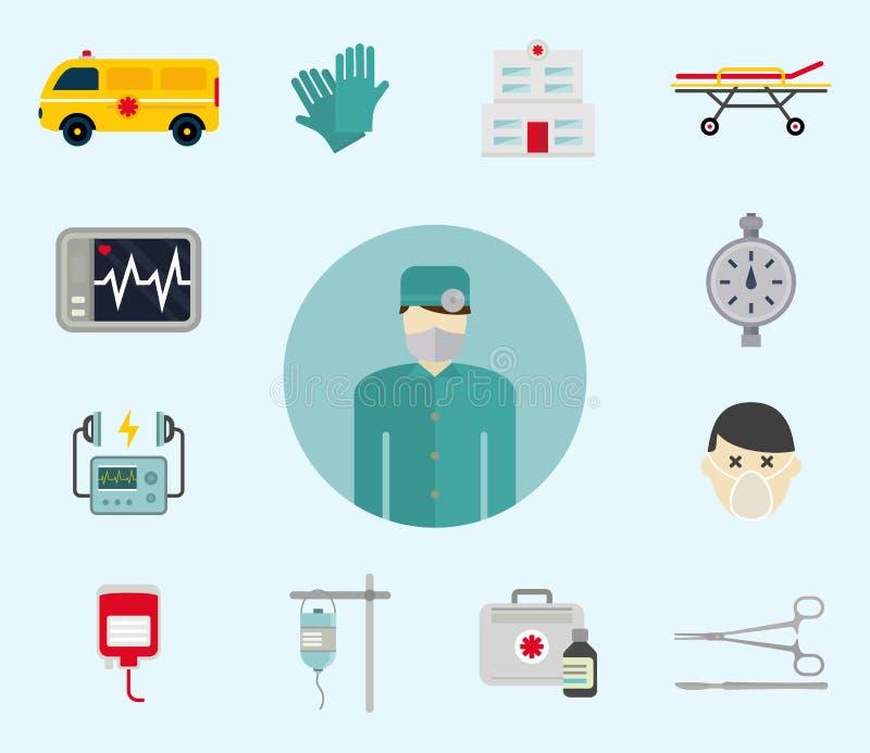 Icônes d'ambulance illustration stock
