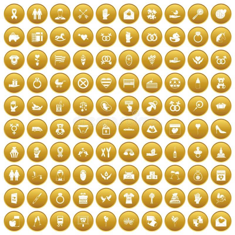 100 icônes d'amour ont placé l'or illustration stock