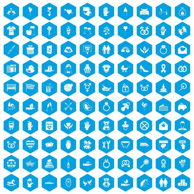 100 icônes d'amour réglées bleues illustration stock