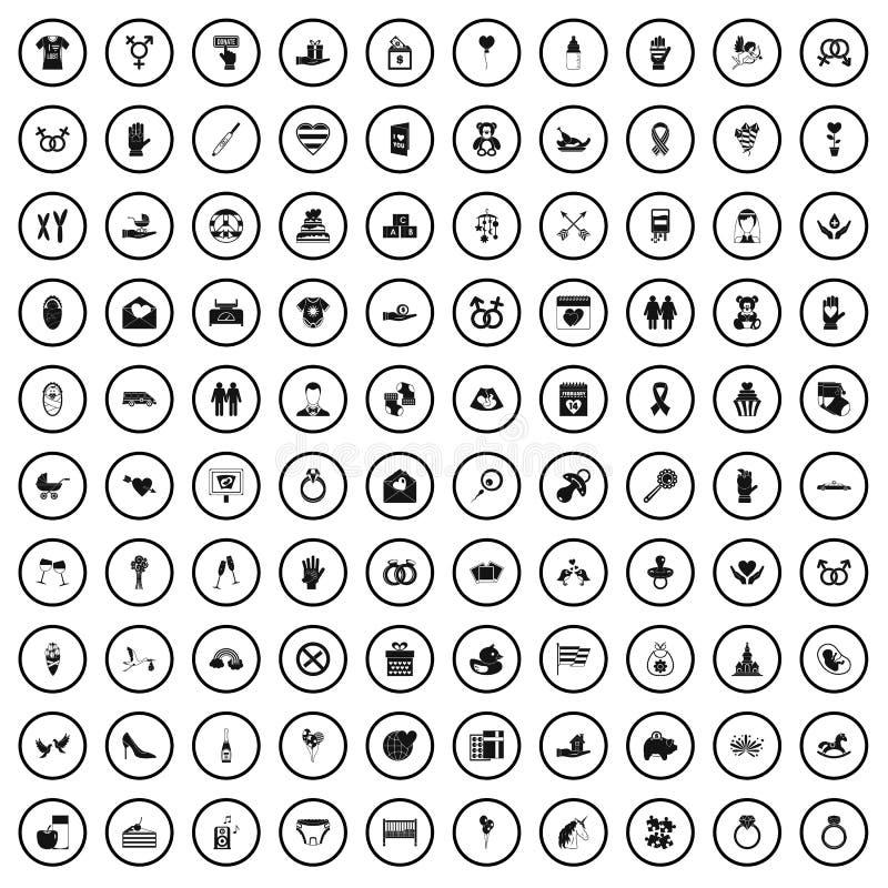 100 icônes d'amour réglées, style simple illustration stock