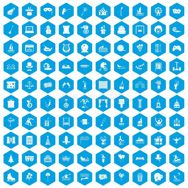 100 icônes d'amusement réglées bleues illustration libre de droits