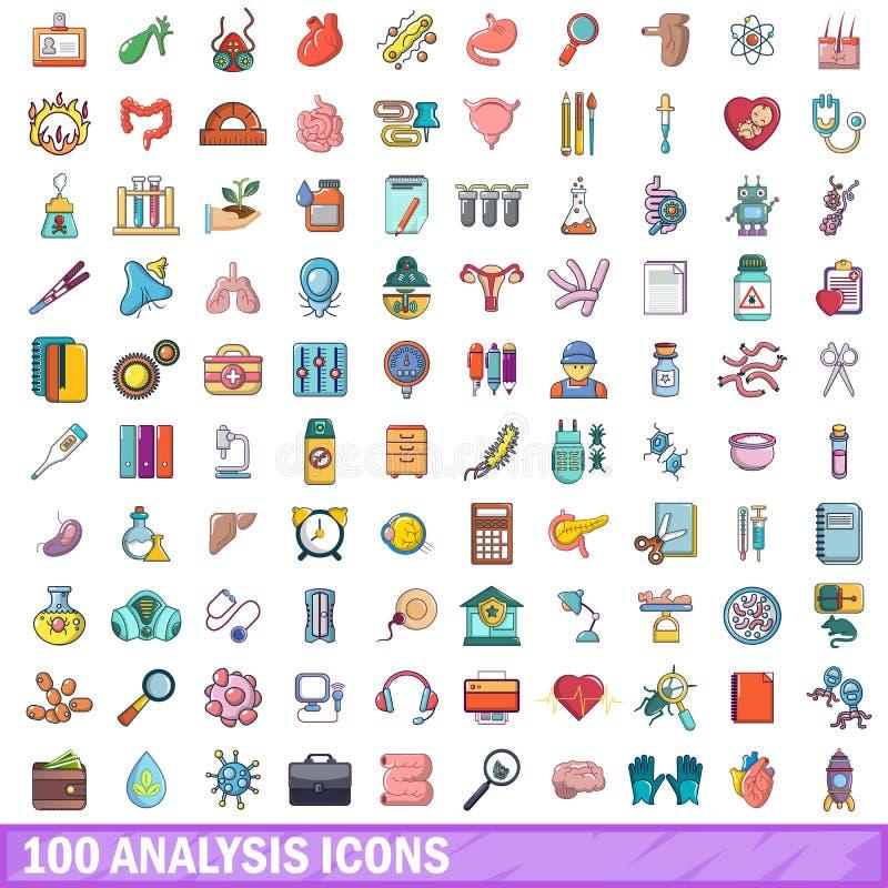 100 icônes d'analyse réglées, style de bande dessinée illustration libre de droits