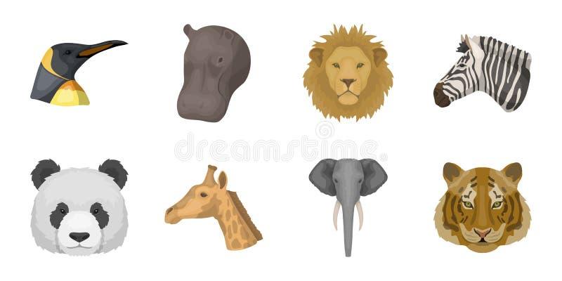 Icônes d'animal sauvage dans la collection d'ensemble pour la conception Le mammifère et l'oiseau dirigent l'illustration courant illustration de vecteur