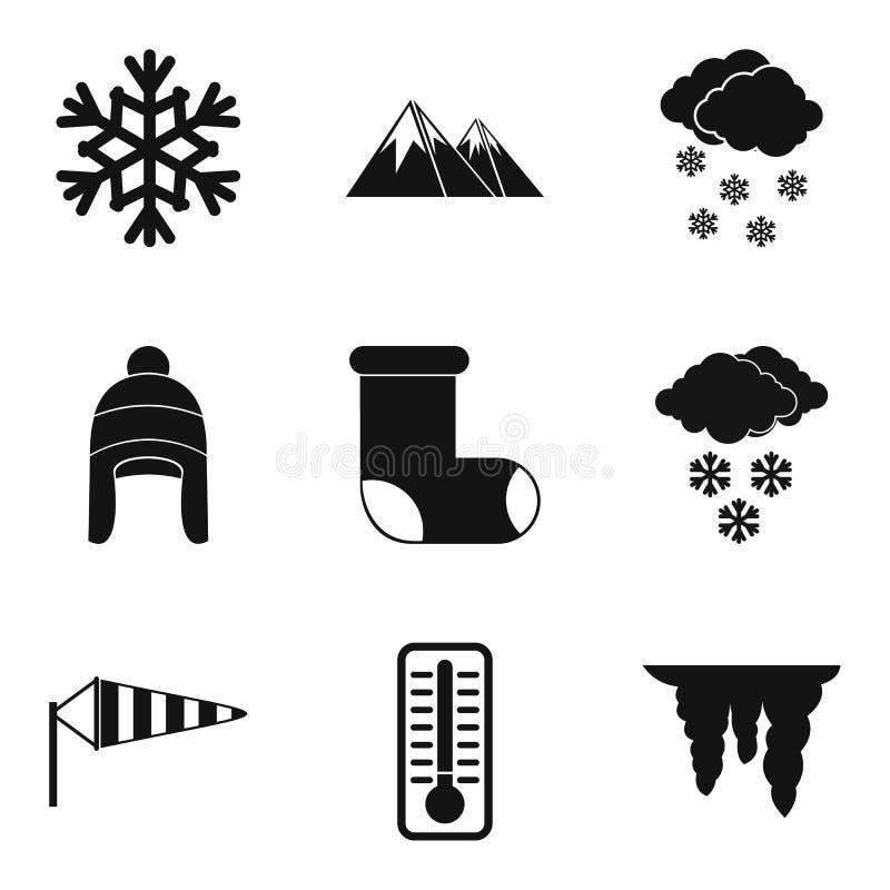 Icônes d'année d'hiver réglées, style simple illustration de vecteur