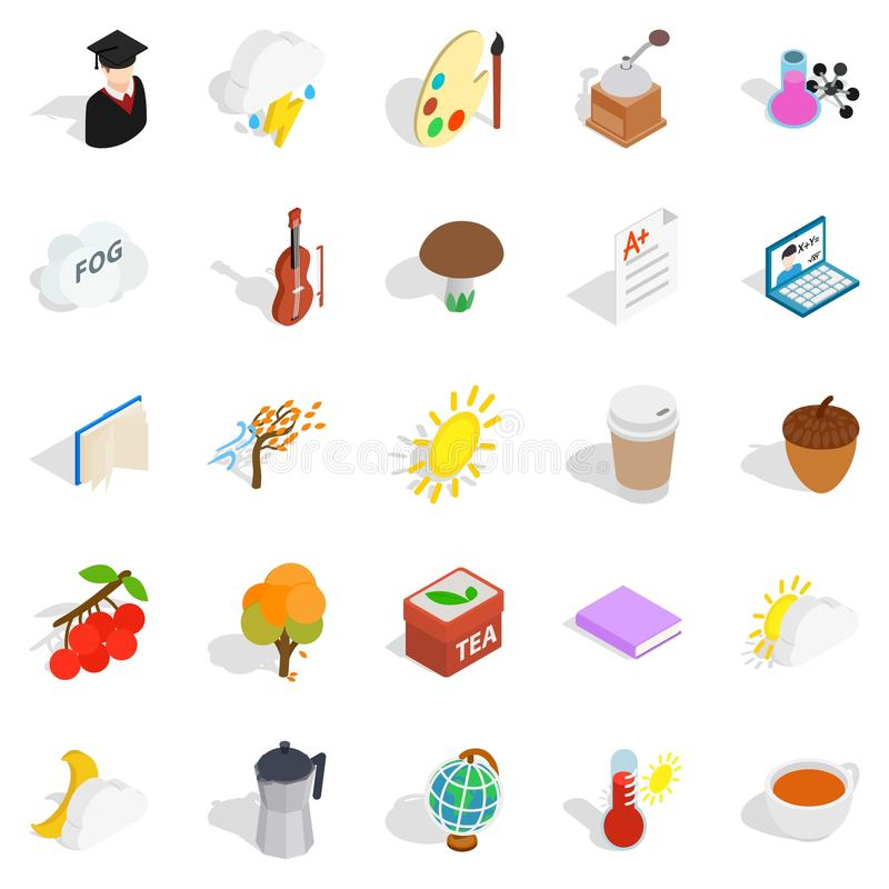 Icônes d'année universitaire réglées, style isométrique illustration stock
