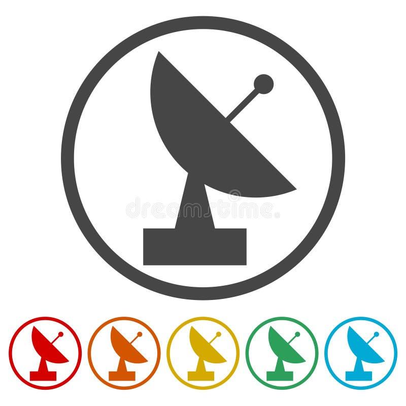 Icônes d'antenne parabolique réglées illustration de vecteur