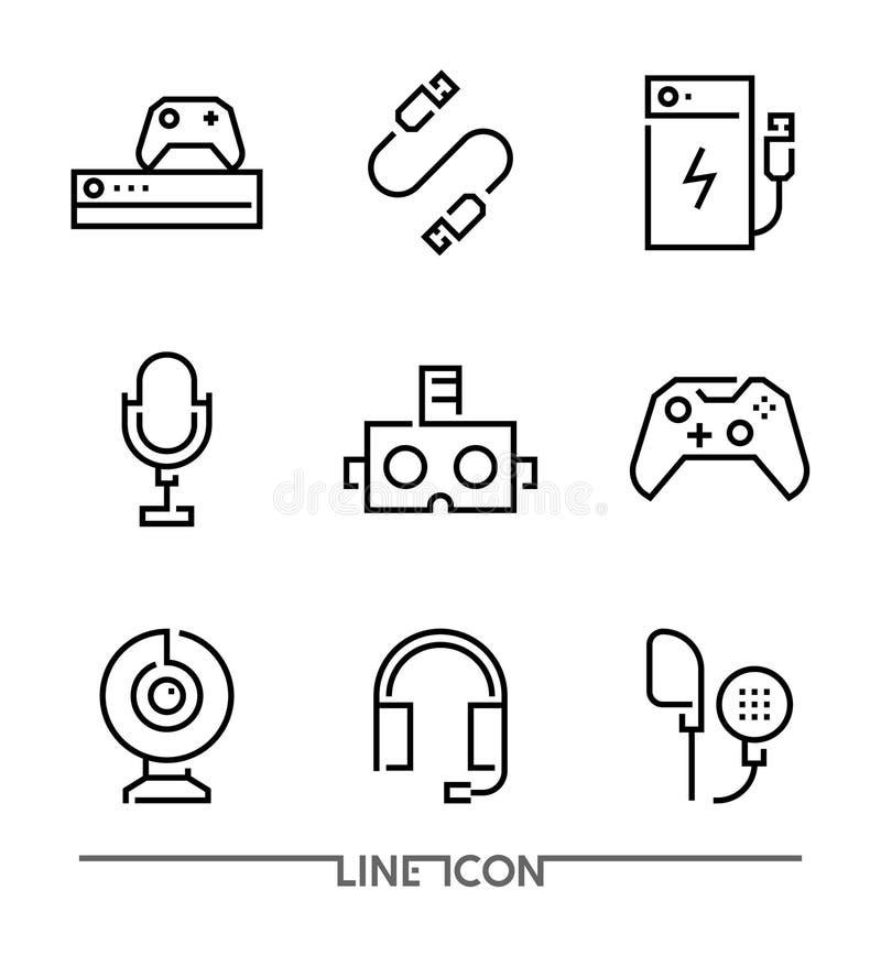 Icônes d'appareils électroniques Les accessoires de jeu amincissent la ligne vecteur illustration libre de droits