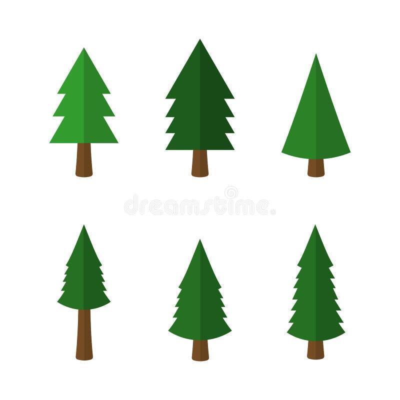 Icônes d'arbres de Noël de bande dessinée d'isolement sur le fond blanc Illustration de vecteur illustration stock