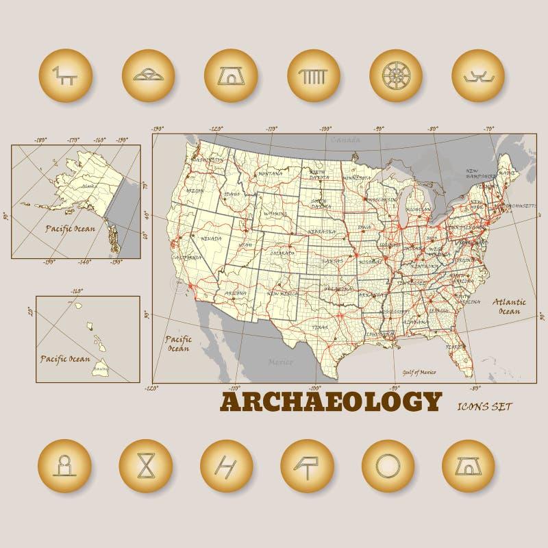 Icônes d'archéologie réglées dans la notation scientifique illustration libre de droits