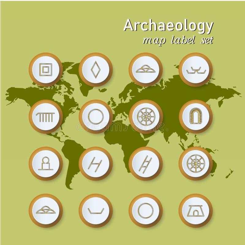 Icônes d'archéologie réglées dans la notation scientifique sur le fond de carte du monde illustration libre de droits