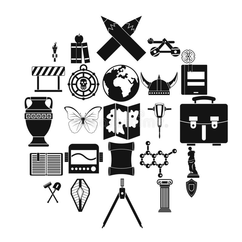 Icônes d'archéologie réglées, style simple illustration libre de droits