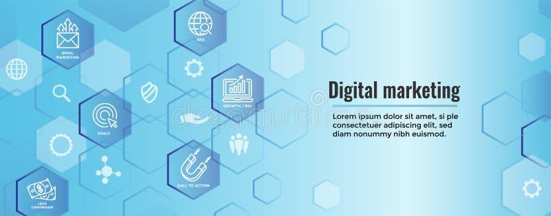 Icônes d'arrivée de vecteur de la bannière W de Web de vente de Digital avec CTA, GR illustration libre de droits