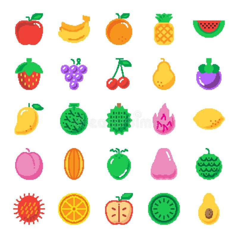 Icônes d'art de pixel de fruit illustration stock