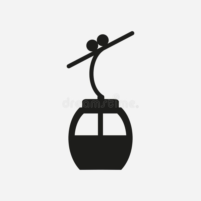 Icônes d'ascenseur de câble de ski pour le ski et les sports d'hiver illustration de vecteur