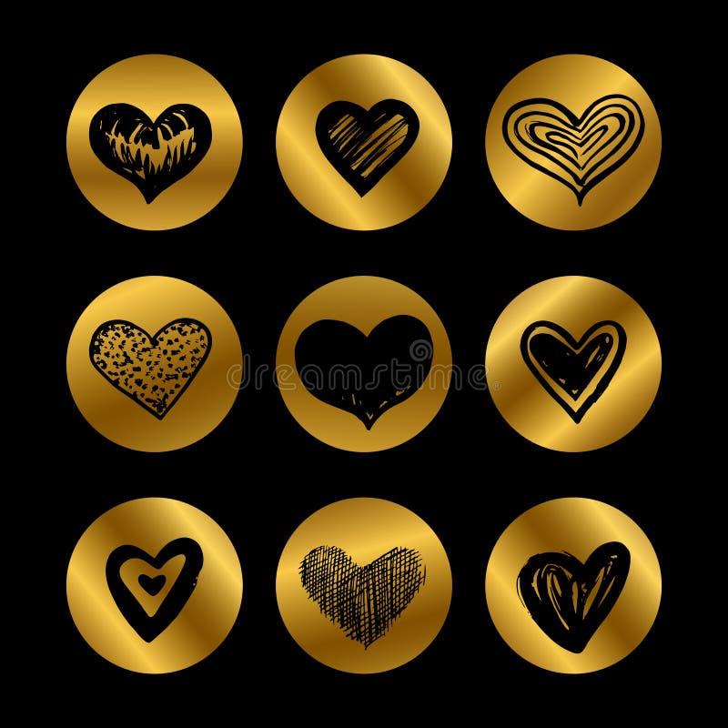 Icônes d'or avec l'ensemble noir tiré par la main de vecteur de coeurs illustration stock