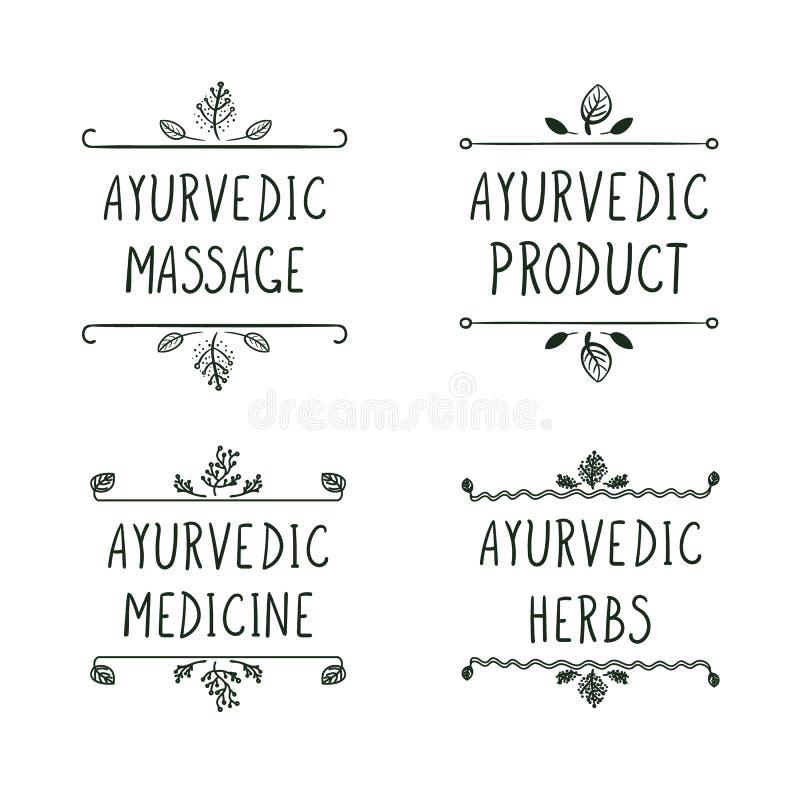 Icônes d'Ayurvedic de vecteur réglées d'isolement sur le fond blanc : Massage d'Ayurveda, produit, médecine, herbes illustration stock