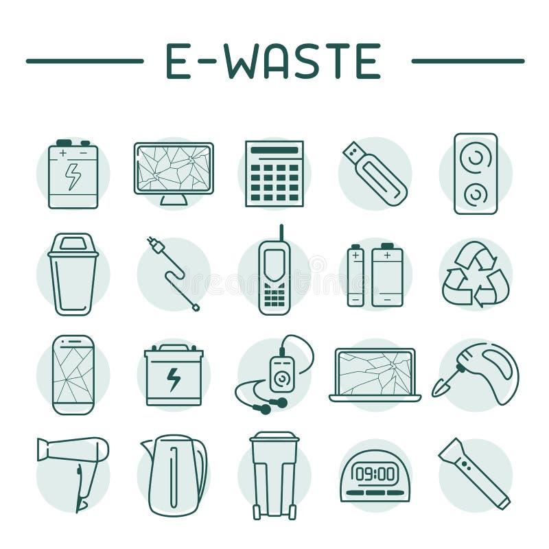 icônes d'E-déchets réglées illustration stock