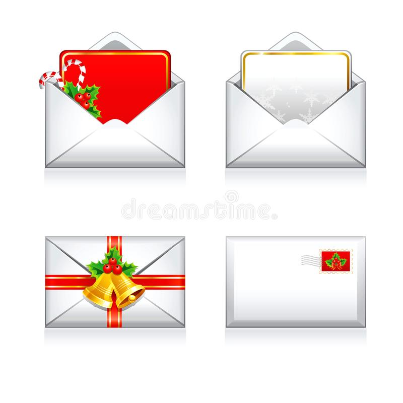 Icônes d'email de lettres de vecteur réglé de Noël et de bonne année photos libres de droits