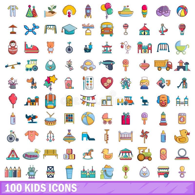 100 icônes d'enfants réglées, style de bande dessinée illustration stock