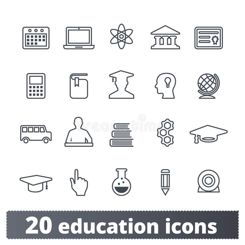 Icônes d'ensemble d'éducation et de la Science d'école illustration de vecteur