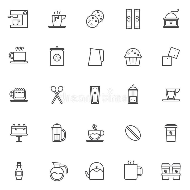 Icônes d'ensemble d'éléments de café réglées illustration libre de droits