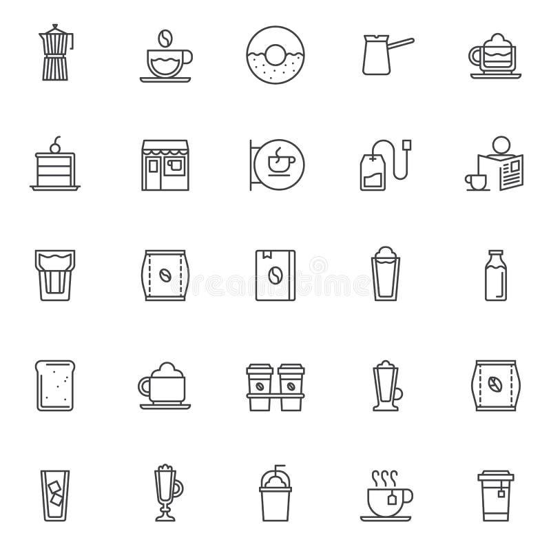 Icônes d'ensemble de café réglées illustration libre de droits