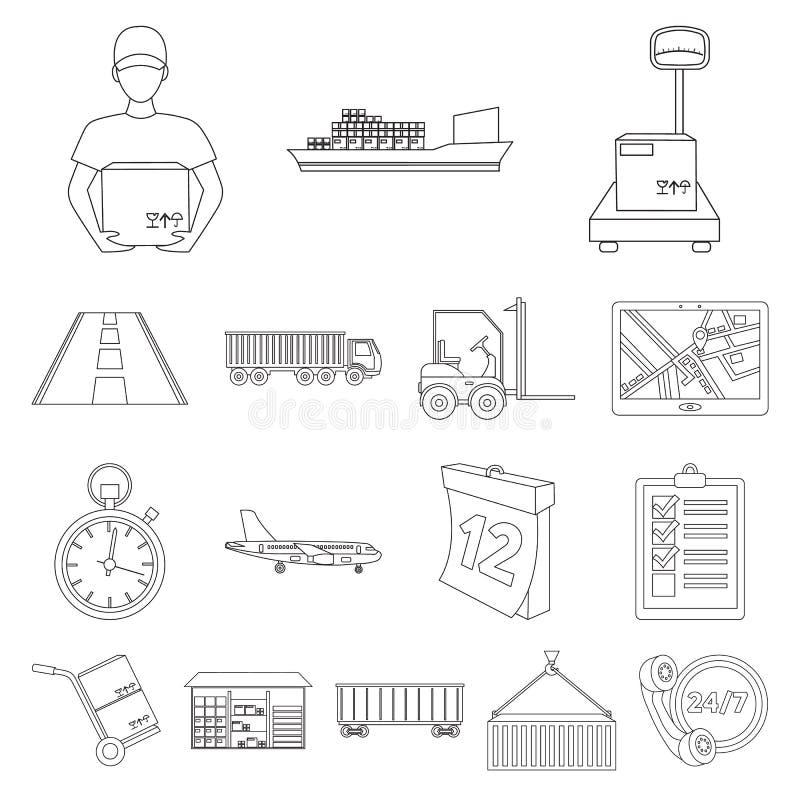 Icônes d'ensemble de service de logistique dans la collection d'ensemble pour la conception Web d'actions de symbole de logistiqu illustration libre de droits