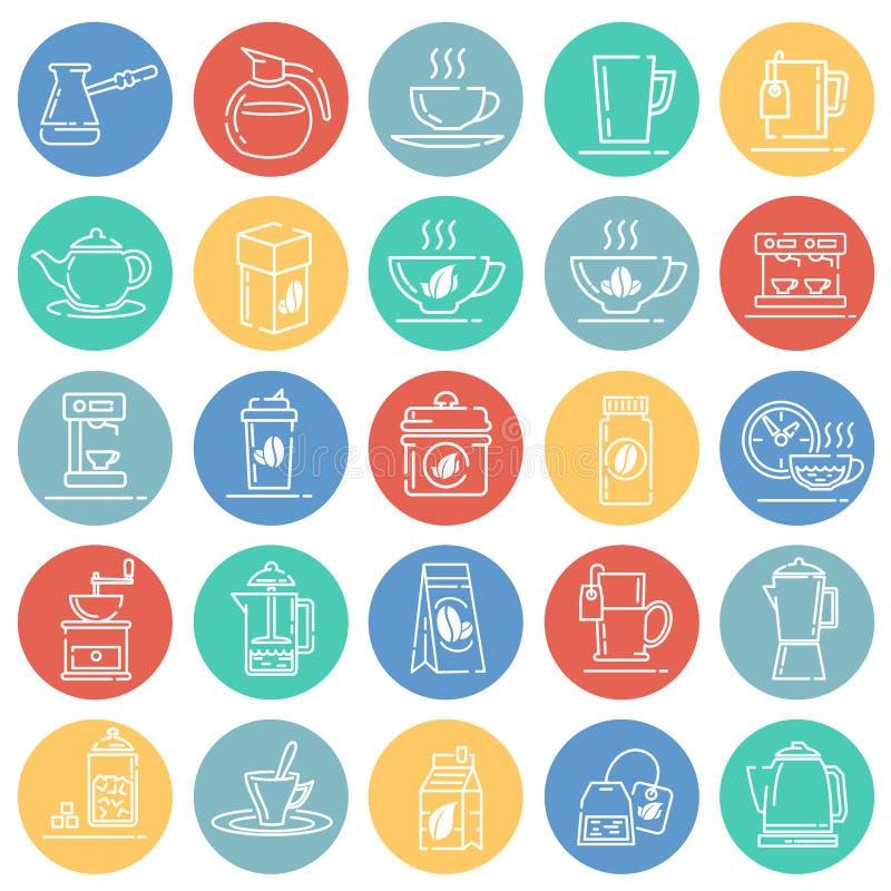 Icônes d'ensemble de thé et de café réglées sur le fond blanc de cercles de couleur pour le graphique et la conception web, signe illustration de vecteur