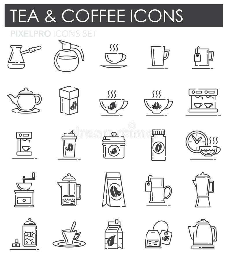 Icônes d'ensemble de thé et de café réglées sur le fond blanc pour le graphique et la conception web, signe simple moderne de vec illustration de vecteur