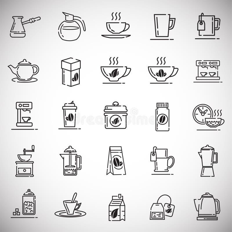 Icônes d'ensemble de thé et de café réglées sur le fond blanc pour le graphique et la conception web, signe simple moderne de vec illustration libre de droits