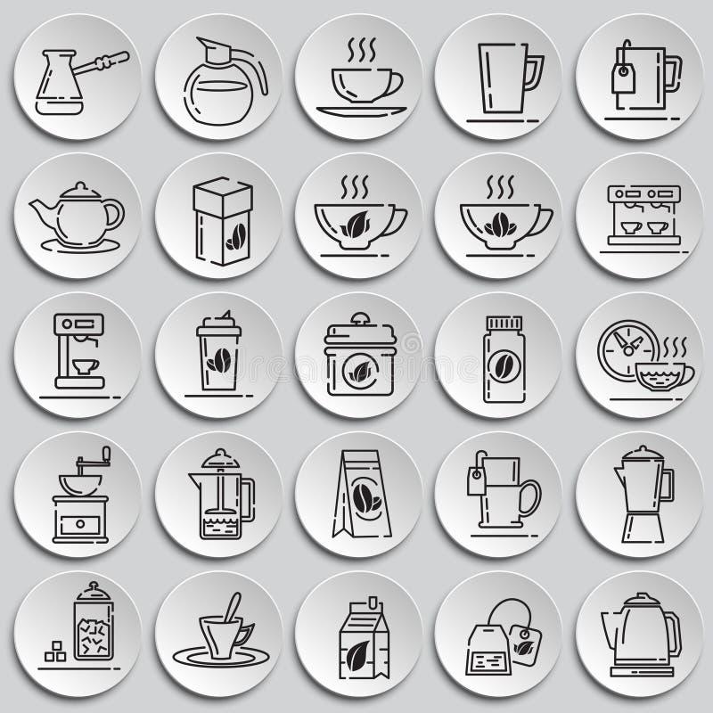 Icônes d'ensemble de thé et de café réglées sur le fond de plats pour le graphique et la conception web, signe simple moderne de  illustration stock