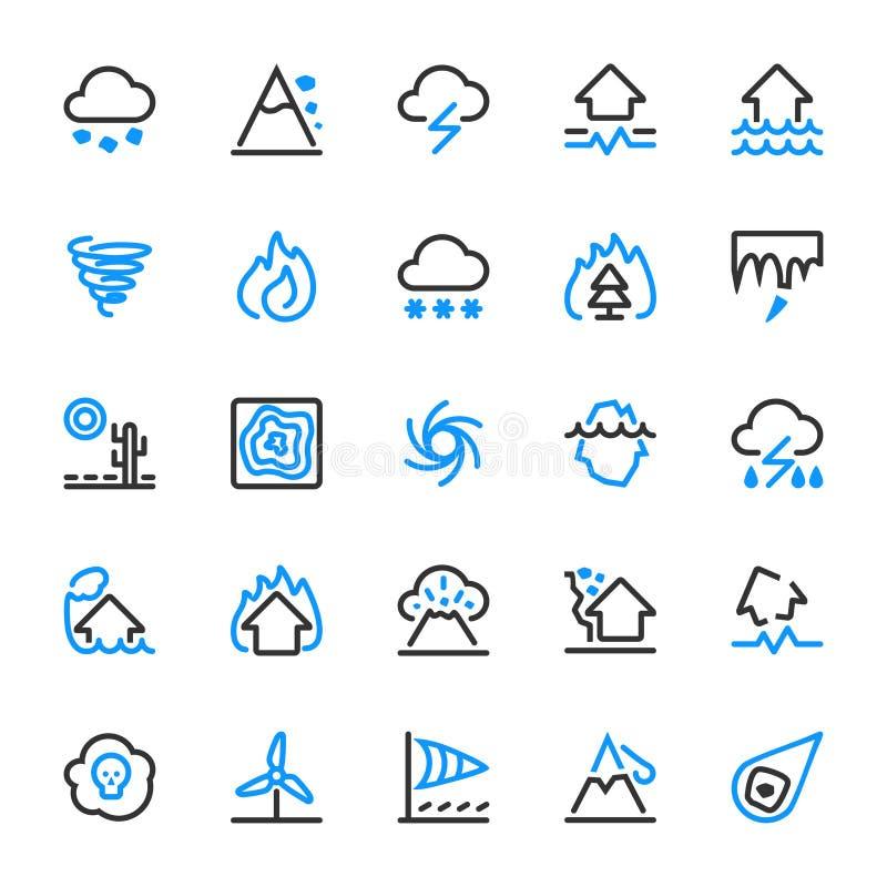 25 icônes d'ensemble des catastrophes naturelles illustration stock