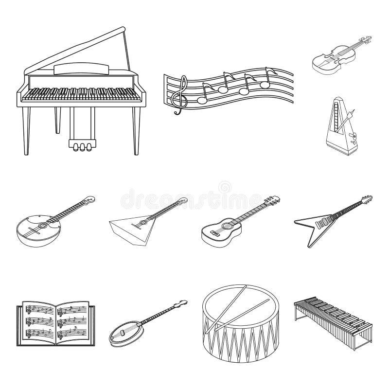 Icônes d'ensemble d'instrument de musique dans la collection d'ensemble pour la conception Actions isométriques de symbole de vec illustration stock