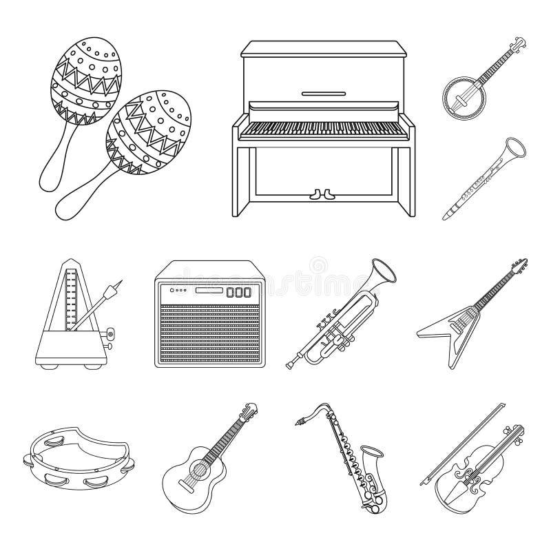 Icônes d'ensemble d'instrument de musique dans la collection d'ensemble pour la conception L'instrument de ficelle et de vent dir illustration de vecteur