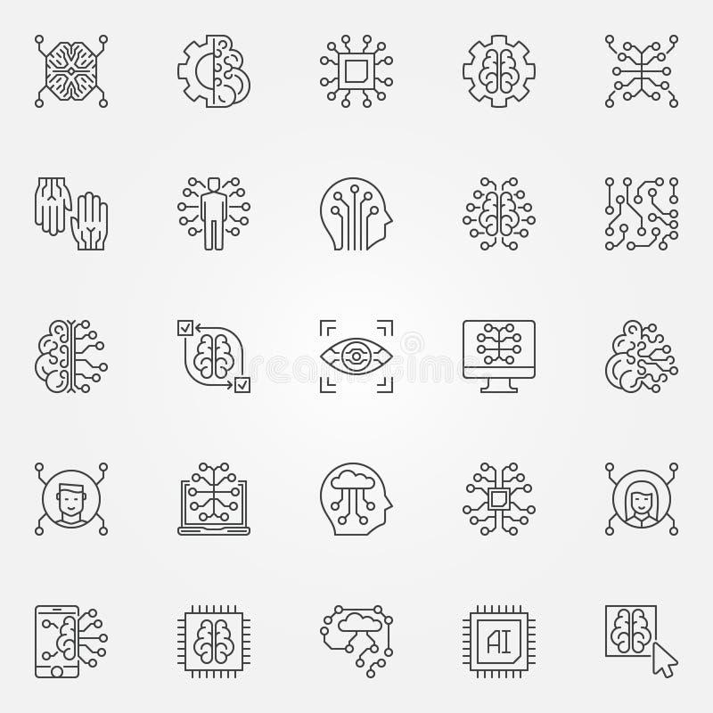 Icônes d'ensemble d'intelligence artificielle réglées Symboles de technologie d'AI illustration stock