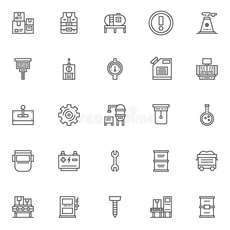 Icônes d'ensemble d'usine réglées illustration libre de droits